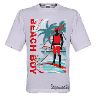 belajar design t-shirt | Beach boy t-shirt design