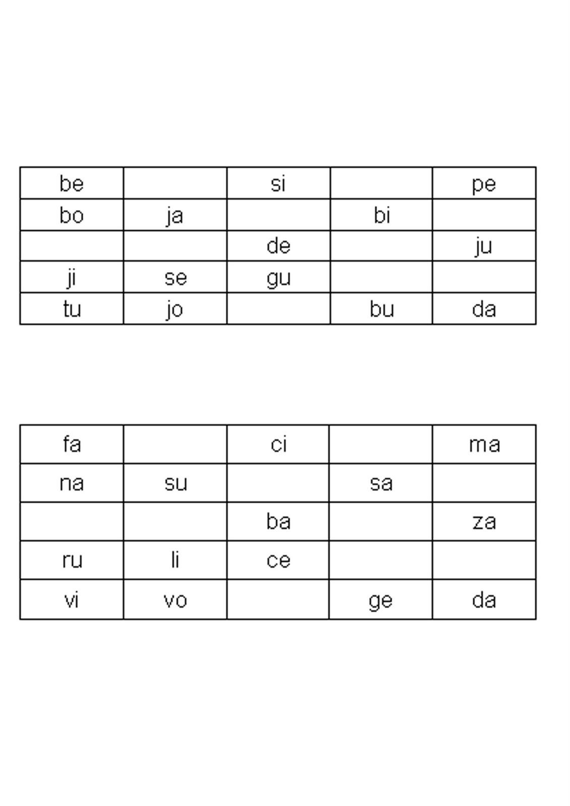 Palabras Silabas Directas Bingo de Sílabas Directas en