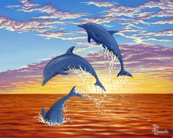 Three Dolphins Leaping 16 x 24