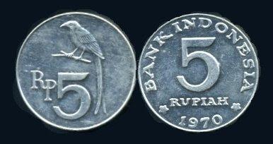 Uang Koin 5 Rupiah 1970