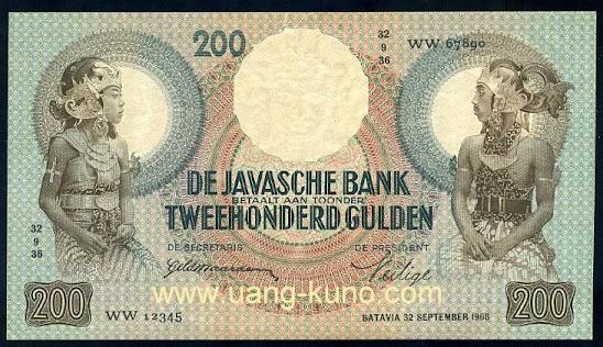 Wayang 200 gulden proof seri WW