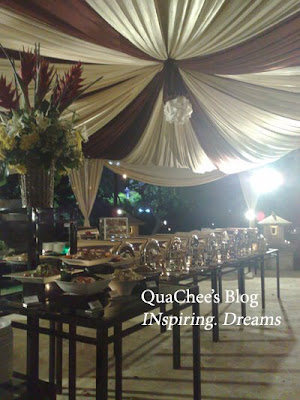 Indonesian Wedding Dinner, food under tent