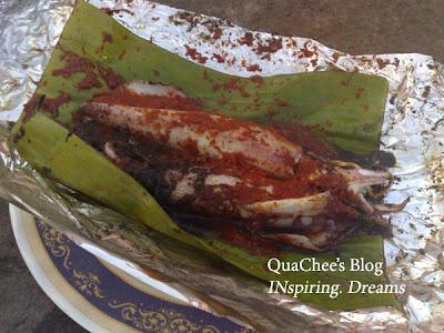 kampung food, baked sotong squid