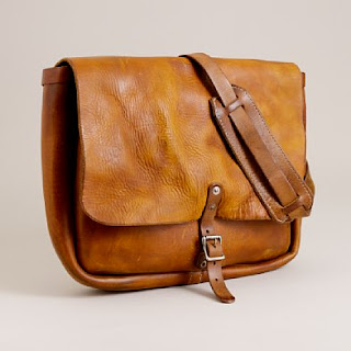 J Crew leather postal messenger bag