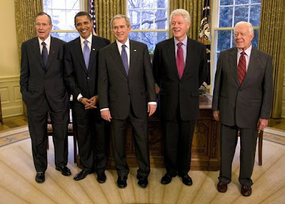 the 41st president george h w bush the soon to be 44th president barack obama the 43rd president george w bush the 42nd president bill clinton - Presidents Of The United States Of America
