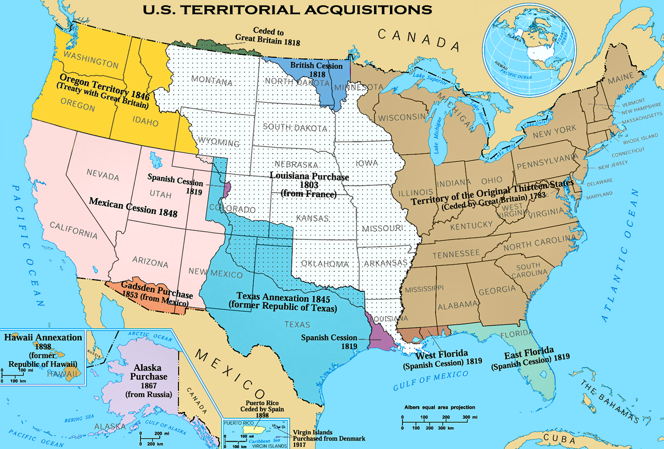 the united states had added about 2 425 000 square miles to its territory and owned nearly all of it thus by the time of the first railroad land grant in
