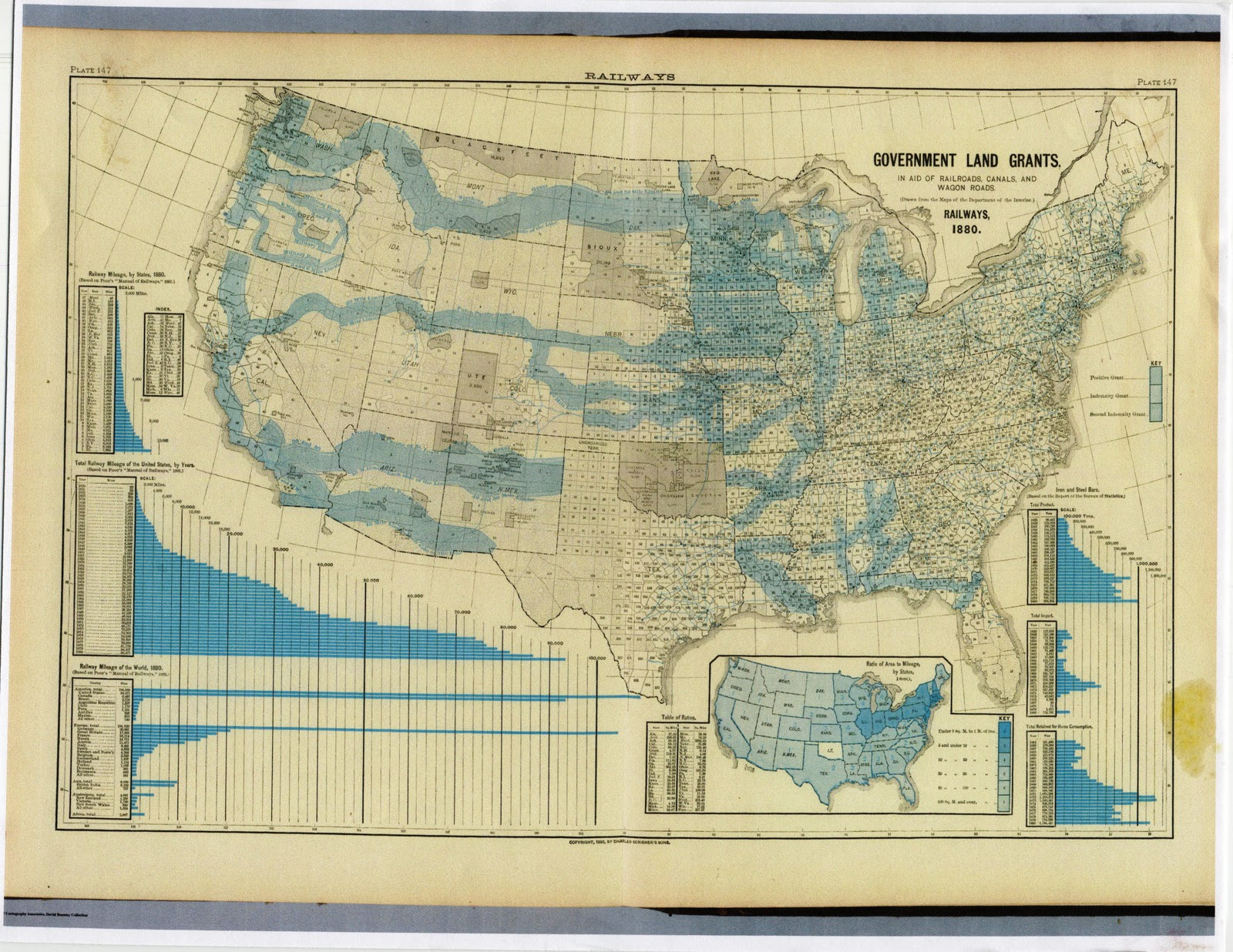 1880 us general land office map showing land grants for railroads wagon roads and canals http www davidrumsey com