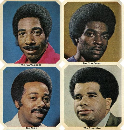 of hairstyles with awesome names that were scanned from a 1970's Ebony