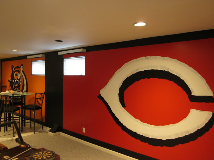 Larry's Cincinnati sports themed basement