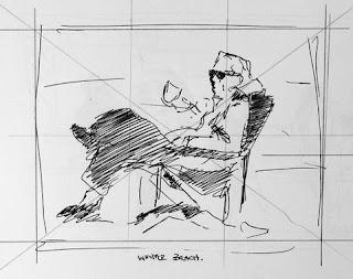 Composition sketch - Coffee on a winter's beach - Stephen Scott