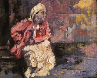 Queen of the street - oil painting by Stephen Scott.