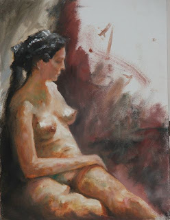 seated nude an oil painting done in the style of alla prima, by South African artist - Stephen Scott