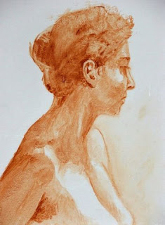 Oil wash portrait - seated nude by Cape Town based South African Artist, Stephen Scott