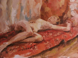 Reclining Nude - oil on canvas board - stephen scott