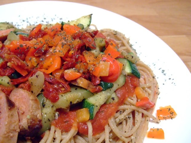 Made Sausage, Roasted Red Pepper, Zucchini and Sun Dried Tomato Pasta ...