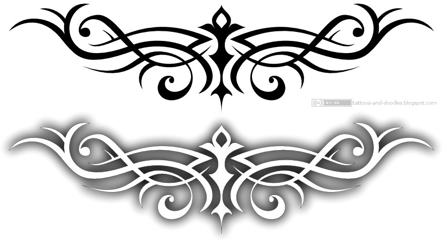 butterfly with a leopard pattern. And a simple symetrical tribal tattoo.