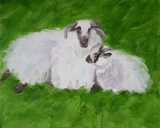 Sheep, 8x8 oil, by Stella