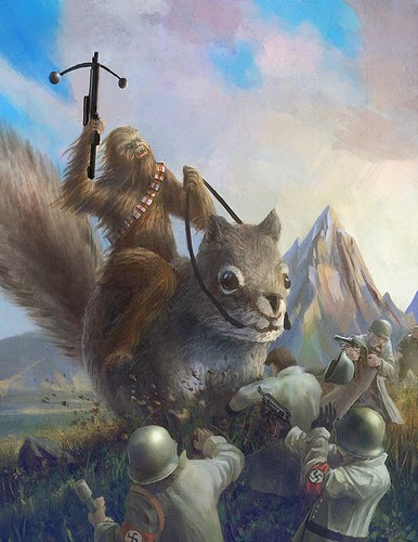 What Passes for Life: Chewbacca on a giant squirrel fighting Nazis?