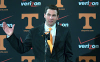 Tennessee and Derek Dooley work on the wildcat formation.