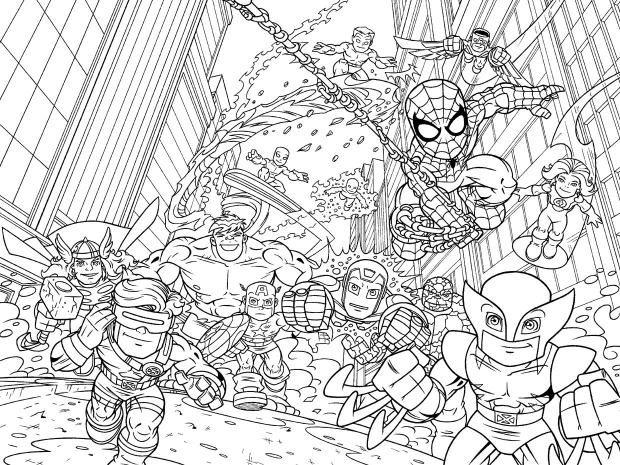 Marvel super hero squad coloring pages printable marvel super hero