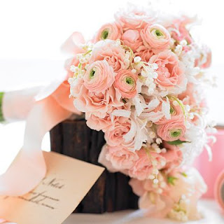 ranunculus wedding bouquet cascade pink