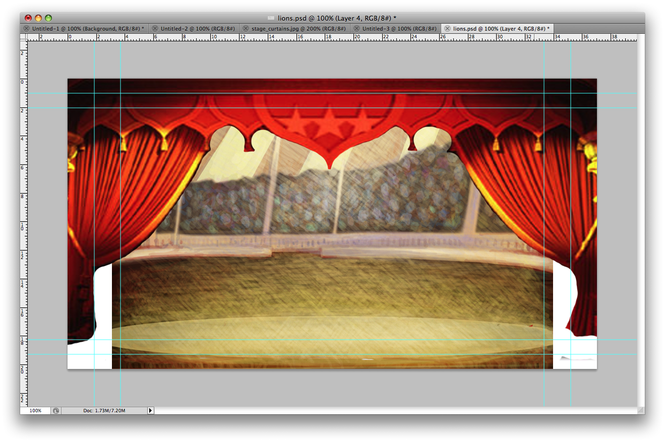 Background for set inside circus tent. & Design Practice: Background for set inside circus tent.