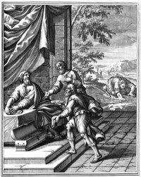 Grabado de 1712 que muestra a los dos siervos fieles rindiendo cuentas ante su señor y al mal siervo escarbando en la tierra en busca de su talento.