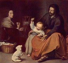 Cuadro de Murillo en el que se muestra una escena familiar con San José jugando con el niño Jesús y María cosiendo a su lado