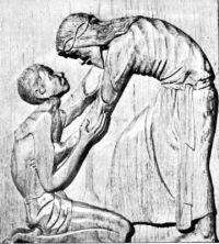 Imagen de un grabado que representa a Jesus compadeciendose del leproso