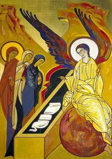 Representación de la escena en la que el ángel habla a las mujeres que buscaban a Jesús en el sepulcro