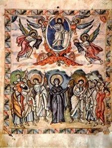 Miniatura del Evangelio de Rabbula (manuscrito fechado en el año 586) en el que se muestra la escena de la Ascensión del Señor