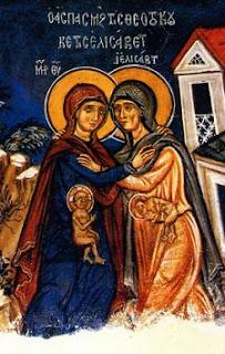 Visitación de María a su prima Isabel. Mural de la Iglesia de la Santa Cruz en Pelendri (Chipre). Siglo XIV