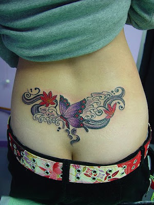 fire fighter tattoo: Cute Butterfly Tribal Tattoo on Back Body