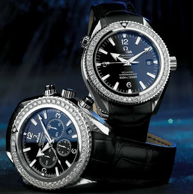Omega Planet Ocean diamond bezel watch