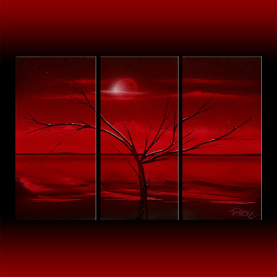 Red art deco landscape painting. triptych 20x30. three canvases 10x20