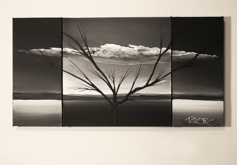tree art on three canvas painting set black white art painting