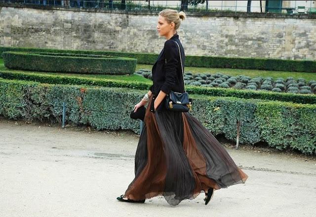 długa spódnica street style, maksi street style, modne spódnice