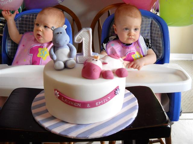 A few weeks back, I made this 1st birthday cake for twin girls.