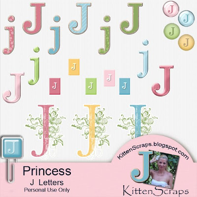 http://kittenscraps.blogspot.com/2009/11/princess-letter-j-freebie.html