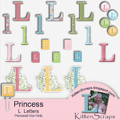 http://kittenscraps.blogspot.com/2009/12/princess-l-letter-freebie.html
