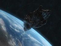 Rappresentazione di un asteroide in rotta di collisione con la Terra