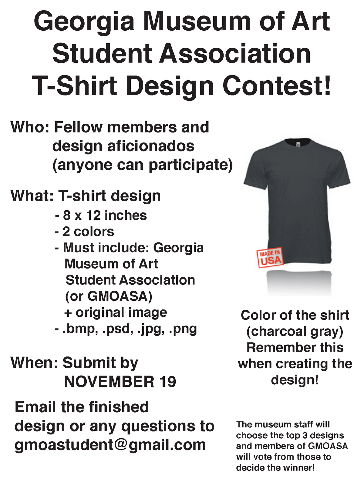 3e4e794b T-shirt Contest for GMOA Student Association!