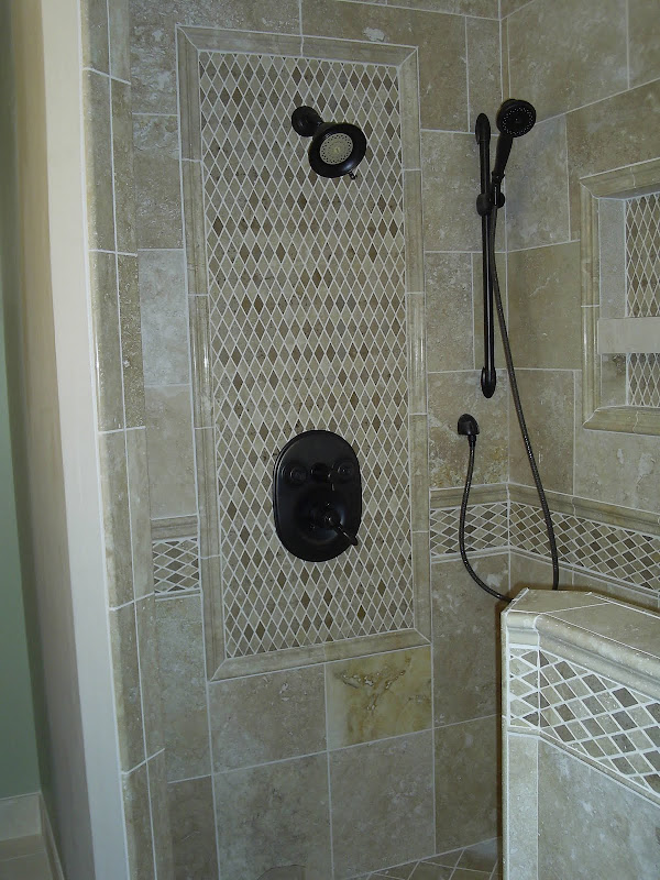Travertine shower install in Livonia, Mi. title=