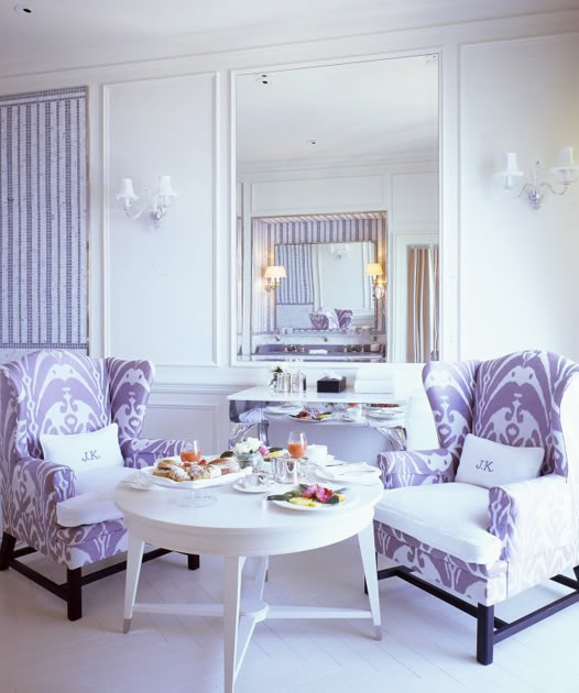 Lavender and White Living Room