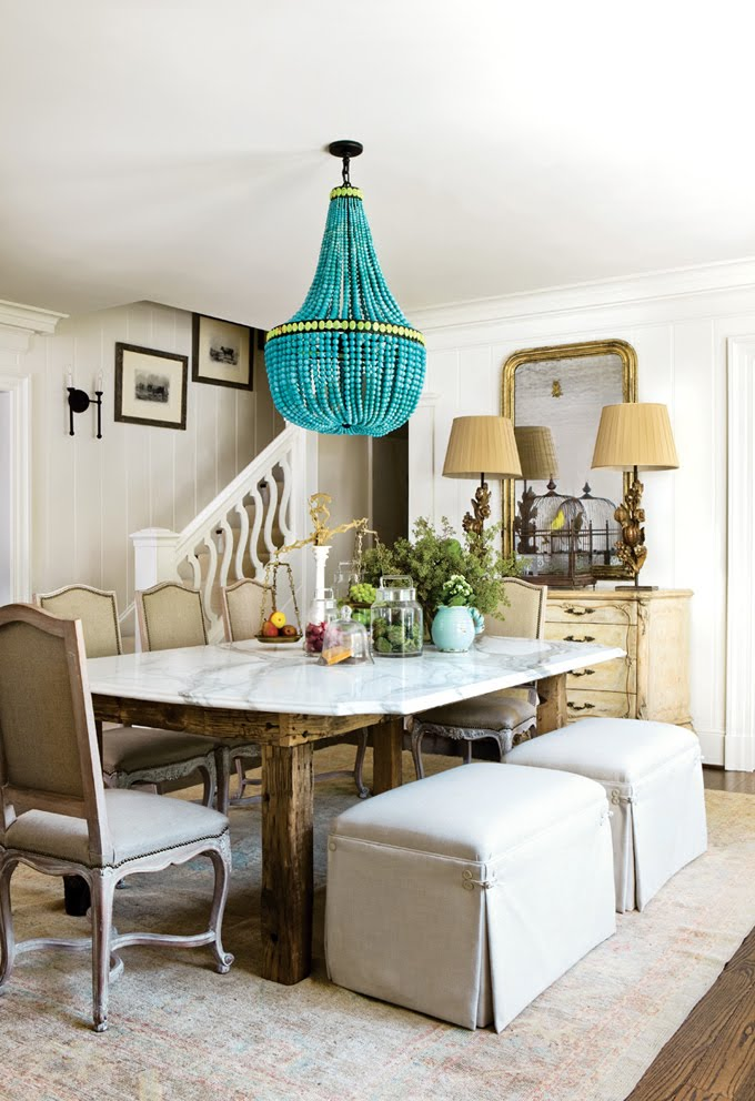 The Breakfast Room at the Decorators' Show House / Meg Adams Interior Design.  House of Turquoise blogger Erin loved the Marjorie Skouras chandelier and  the ...