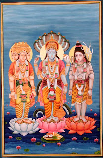 Lord as Three Gods Shiva, Vishnu And Brahma