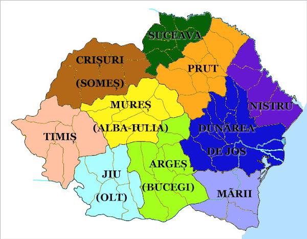 Harta României organizată în ţinuturi în anul 1938