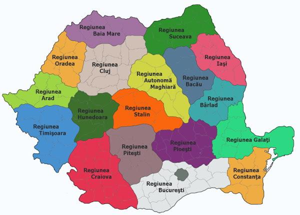 Harta României între 1952 şi 1956