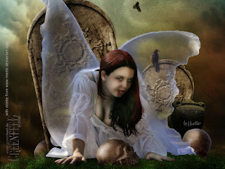 Gothic Angel On Cemetery HD Wallpaper