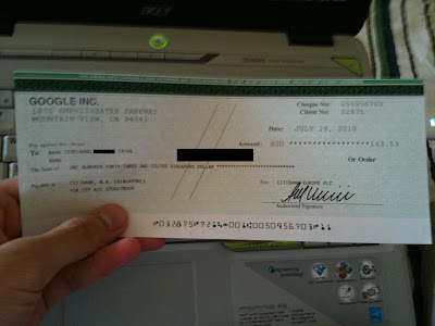 Google Adsense Earning:  May to June 2010